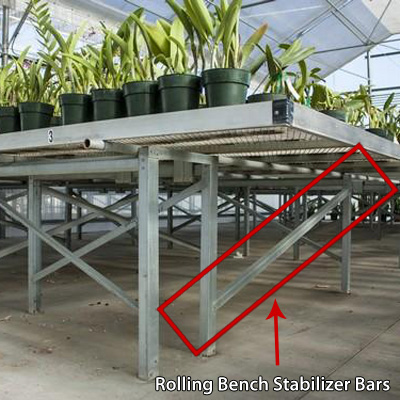 Rolling Bench Stabilizer Bars Greenhouse Megastore